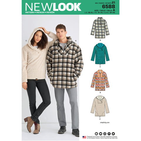 New Look Sewing Pattern 6588 - Unisex Tops
