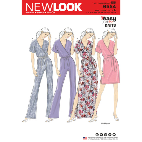 New Look Sewing Pattern 6554 - Women's Knit Jumpsuit and Dresses