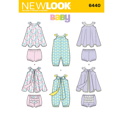 New Look Sewing Pattern 6440 - Babies' Romper and Sundress with Panties