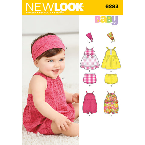 New Look Sewing Pattern 6293 - Babies' Romper, Dress, Panties and Headband