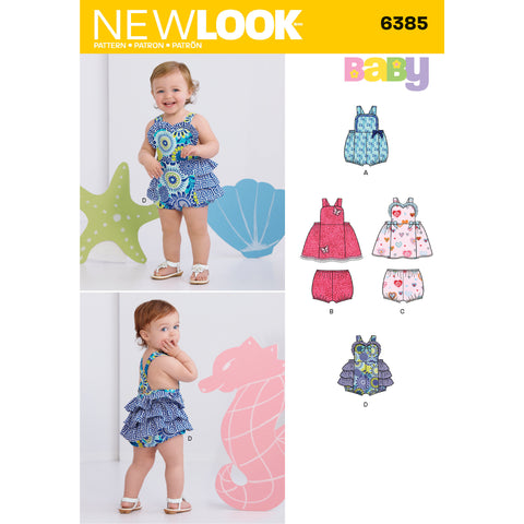 New Look Sewing Pattern 6385 - Babies' Dress, Romper and Panties