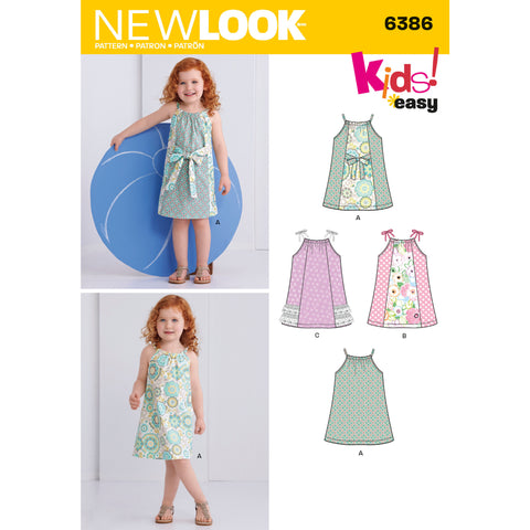 New Look Sewing Pattern 6386 - Toddlers' Easy Pillowcase Dresses