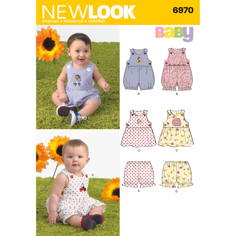 New Look Sewing Pattern 6970 - Babies' Romper, Dress & Panties