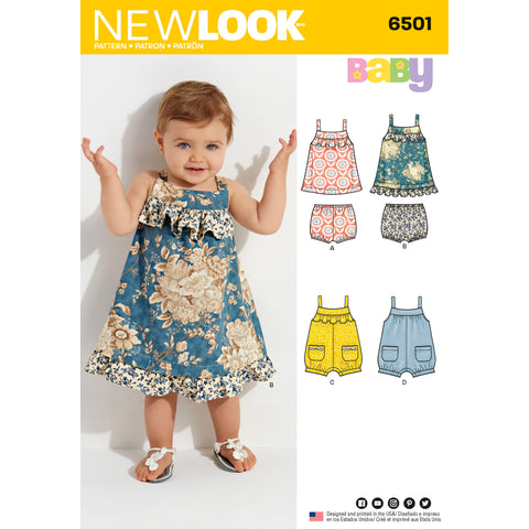 New Look Sewing Pattern 6501 - Babies' Dress and Romper