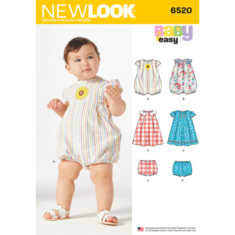 New Look Sewing Pattern 6520 - Babies' Romper and Dress with Panties