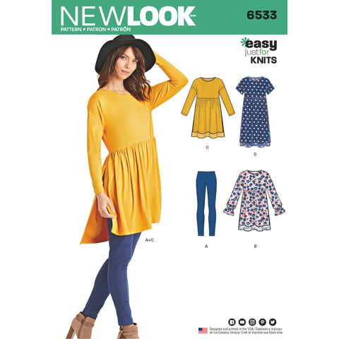 New Look Sewing Pattern 6533 - Women's Babydoll Top with Leggings