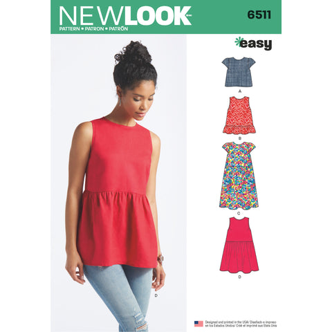New Look Sewing Pattern 6511 - Women's Tops With Length and Sleeve Variations
