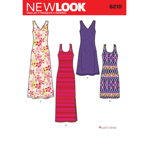 New Look Sewing Pattern 6210 - Misses' Knit Dress in Two Lengths
