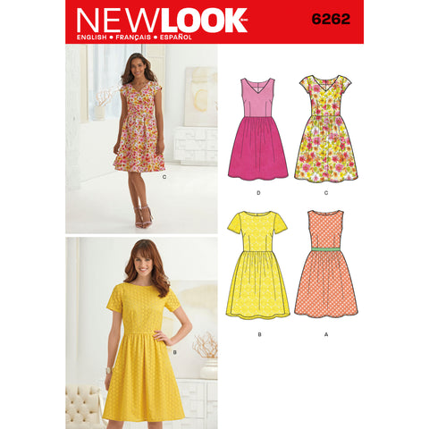 New Look Sewing Pattern 6262 - Misses' Dress with Neckline Variations