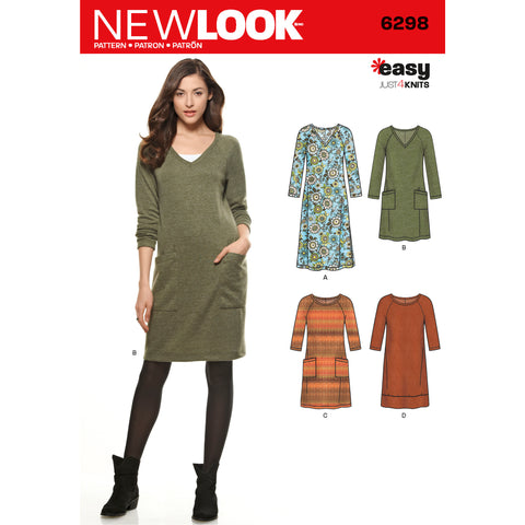 New Look Sewing Pattern 6298 - Misses' Knit Dress with Neckline & Length Variations