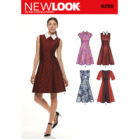 New Look Sewing Pattern 6299 - Misses' Dress with Neckline & Sleeve Variations