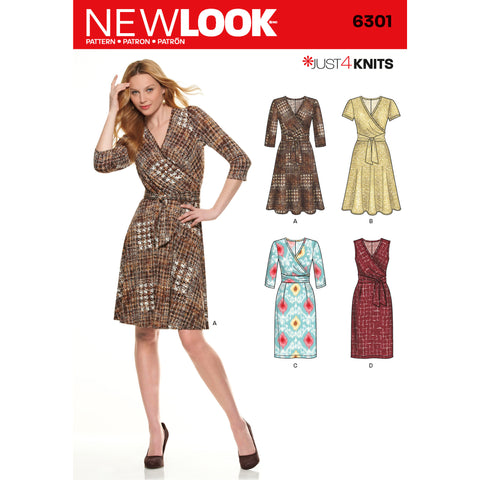 New Look Sewing Pattern 6301 - Misses' Mock Wrap Knit Dress