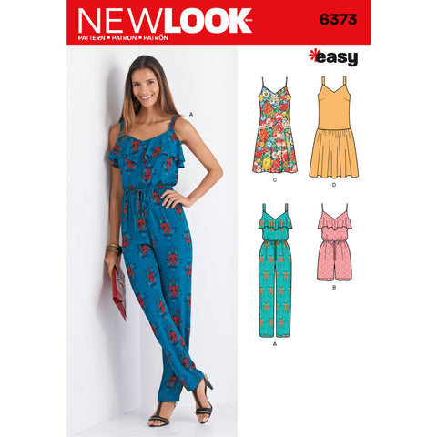 New Look Sewing Pattern 6373 - Misses' Jumpsuit or Romper and Dresses