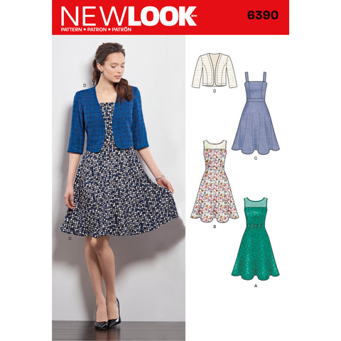 New Look Sewing Pattern 6390 - Misses' Dresses with Full Skirt and Bolero