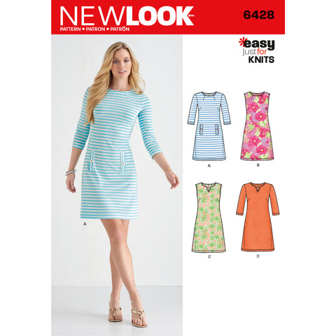 New Look Sewing Pattern 6428 - Misses' Knit Dresses