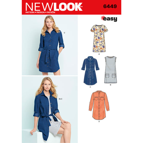 New Look Sewing Pattern 6449 - Misses' Easy Shirt Dress and Knit Dress