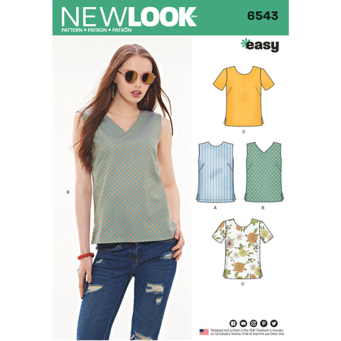New Look Sewing Pattern 6543 - Misses' Easy Tops