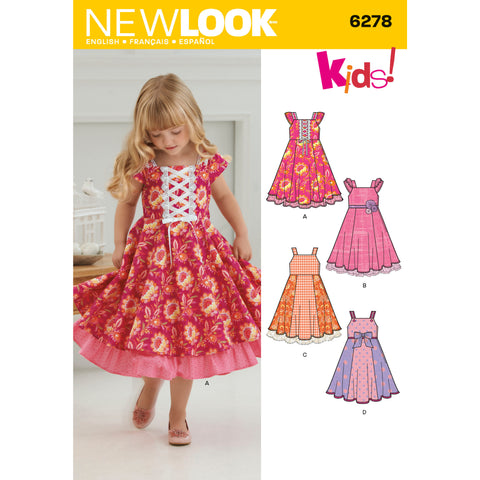 New Look Sewing Pattern 6278 - Child's Dress with Trim Variations