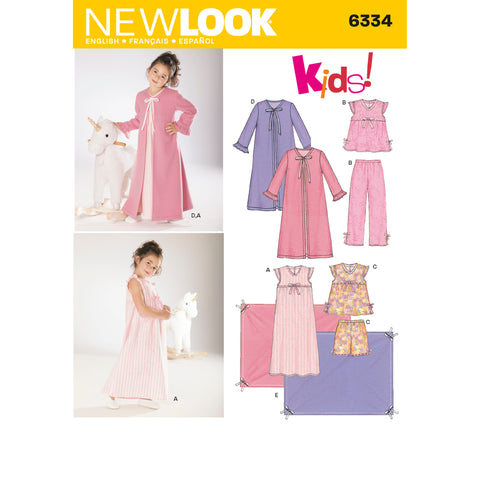 New Look Sewing Pattern 6334 - Childs Nightgown, Pajamas, Robe and Blanket