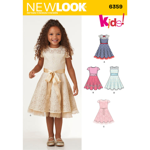 New Look Sewing Pattern 6359 - Child's Dresses with Lace and Trim Details