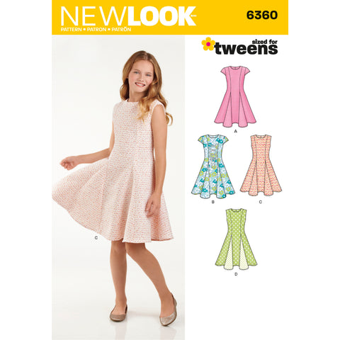 New Look Sewing Pattern 6360 - Girls' Sized for Tweens Dress