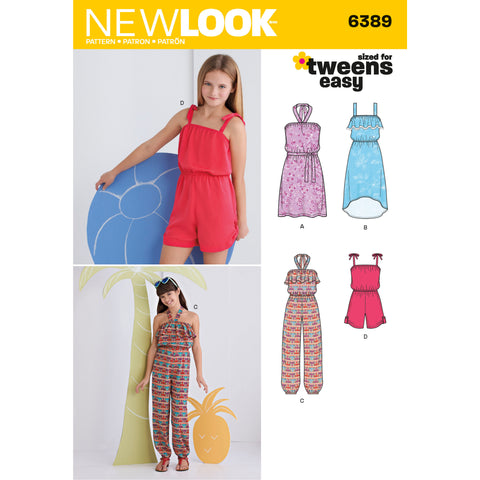 New Look Sewing Pattern 6389 - Girls' Easy Jumpsuit, Romper and Dresses