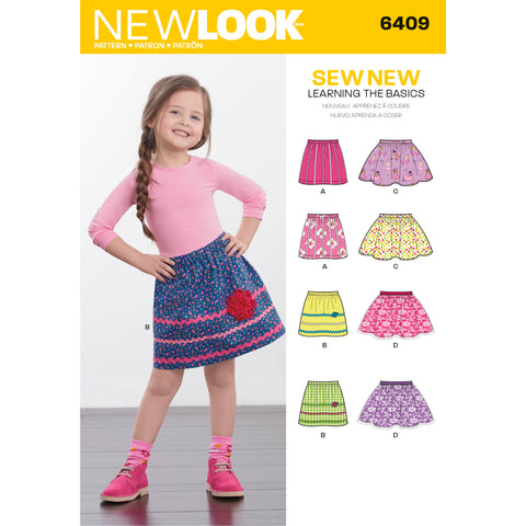New Look Sewing Pattern 6409 - Child's Pull-On Skirts