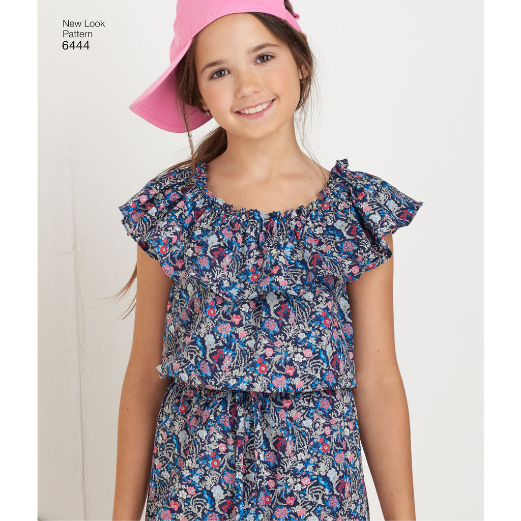 0b198f5f901a8f New Look Sewing Pattern 6444 - Girl's Dress and Jumpsuit in Two Lengths.  Images / 1 / 2 / 3 / 4 ...