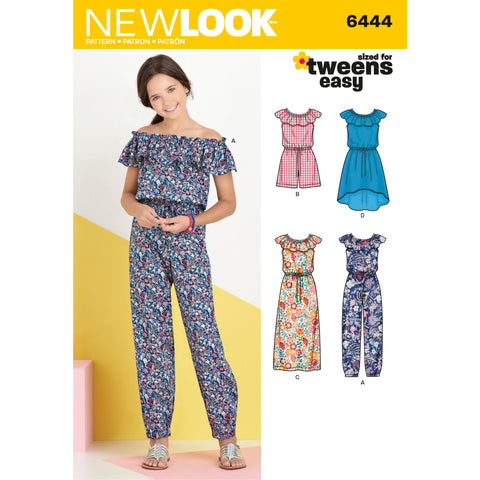 New Look Sewing Pattern 6444 - Girl's Dress and Jumpsuit in Two Lengths