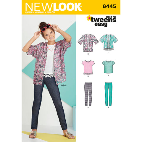 New Look Sewing Pattern 6445 - Easy Girl's Kimono, Knit Top and Leggings