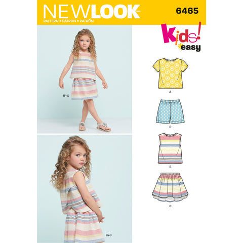 New Look Sewing Pattern 6465 - Child's Easy Top, Skirt and Shorts