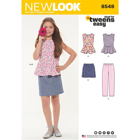 New Look Sewing Pattern 6549 - Girls' Top, Skirt and Pants