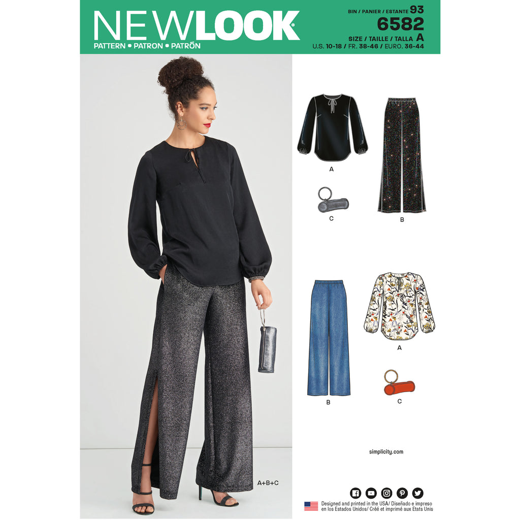 New Look Sewing Pattern 6582 - Misses' Pant, Top and Clutch