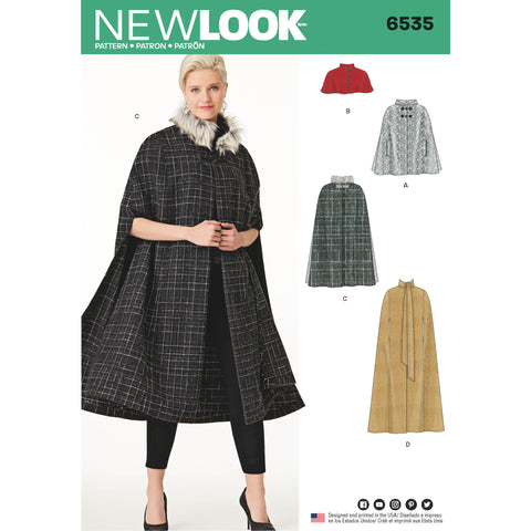 New Look Sewing Pattern 6535 - Women's Capes in Four Lengths