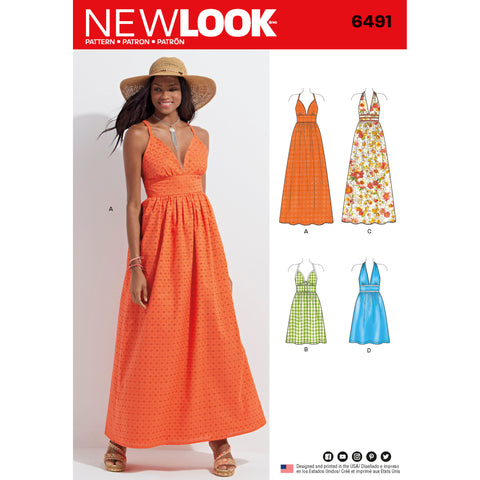 New Look Sewing Pattern 6491 - Misses Dresses in two Lengths with Bodice Variations