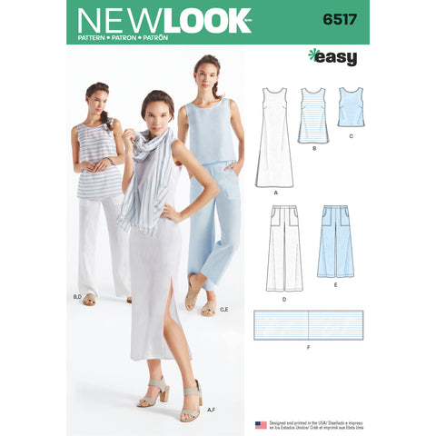 New Look Sewing Pattern 6517 - Women's Dress, Tunic, Top, Pants, and Scarf