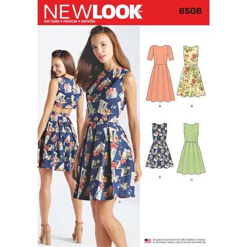 New Look Sewing Pattern 6508 - Women's Dress with Open or Closed Back Variations