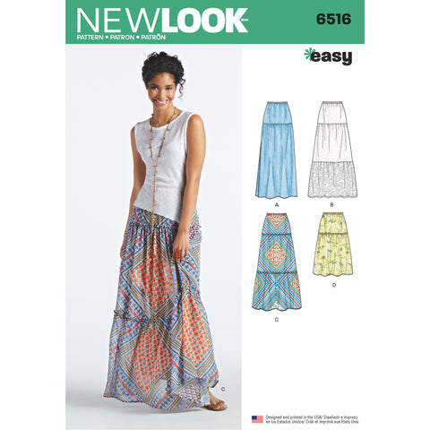 New Look Sewing Pattern 6516 - Women's Skirts With Length and Fabric Variations
