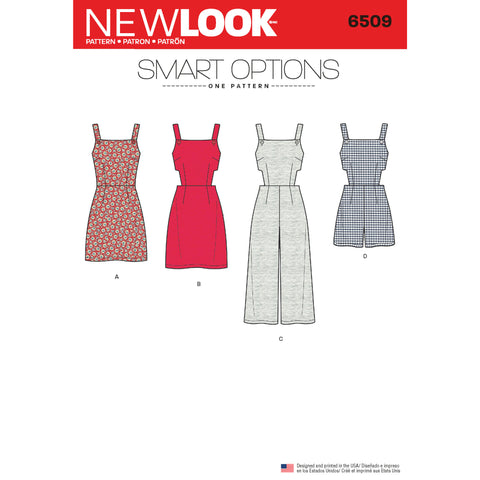 New Look Sewing Pattern 6509 - Women's Jumper, Romper, and Dress with Bodice Variations