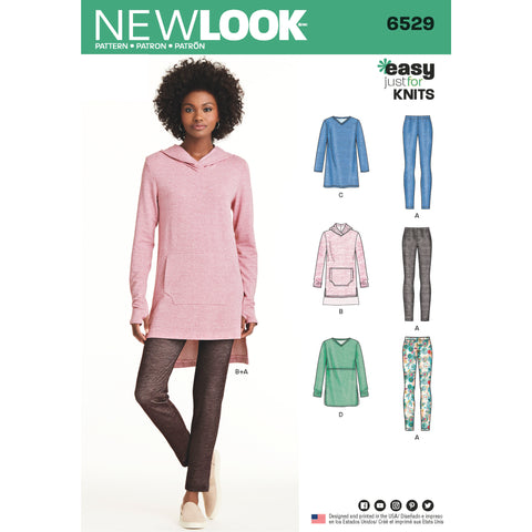 New Look Sewing Pattern 6529 - Women's Knit Tunics and Leggings