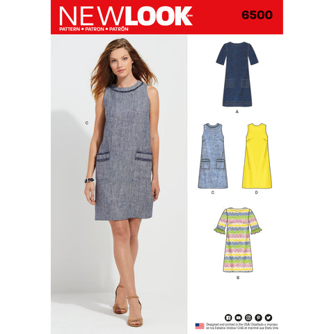 New Look Sewing Pattern 6500 - Misses Dress with Neckline, Sleeve, and Pocket Variations