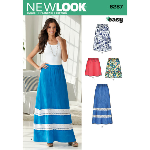 New Look Sewing Pattern 6287 - Misses' Pull on Skirt in Four Lengths
