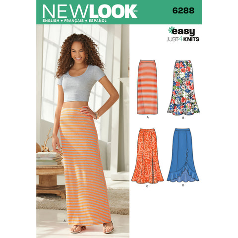 New Look Sewing Pattern 6288 - Misses' Pull on Knit Skirts