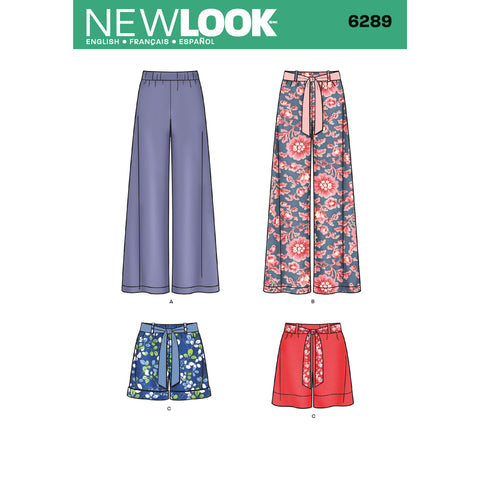 New Look Sewing Pattern 6289 - Misses' Pull-on Pants or Shorts and Tie Belt