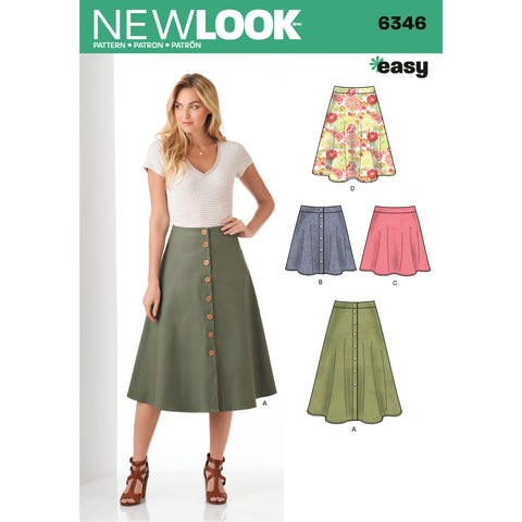 New Look Sewing Pattern 6346 - Misses' Easy Skirts in Three Lengths