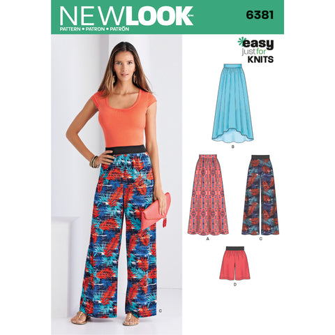 New Look Sewing Pattern 6381 - Misses' Knit Skirts and Pants or Shorts