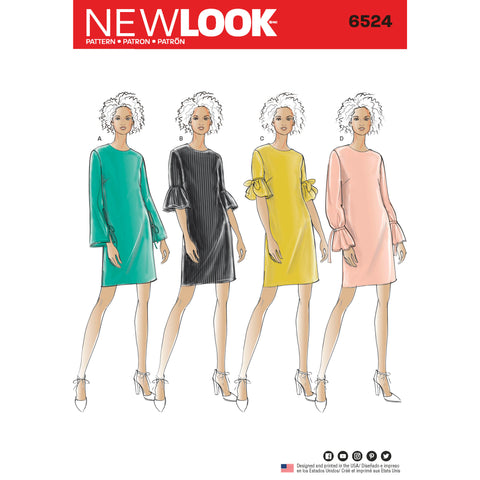 New Look Sewing Pattern 6524 - Women's Dress with Sleeve Variations