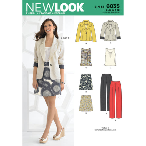 New Look Sewing Pattern 6035 - Misses' Separates