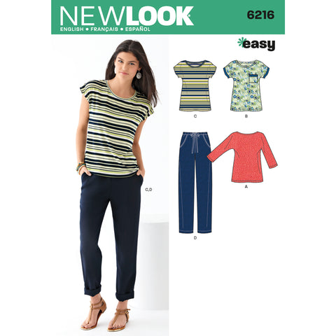 New Look Sewing Pattern 6216 - Misses' Knit Tops and Pants