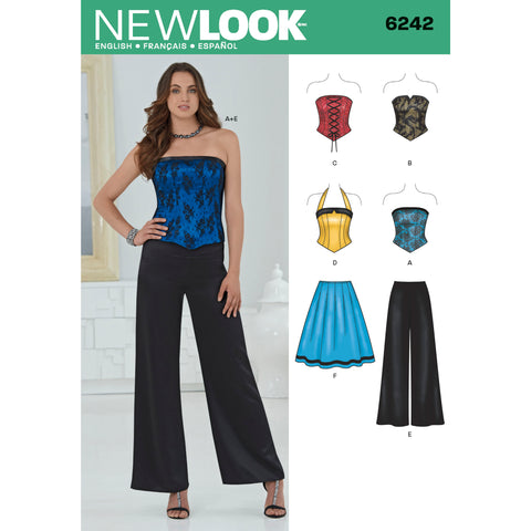 New Look Sewing Pattern 6242 - Misses' Corset Top, Pants and Skirt